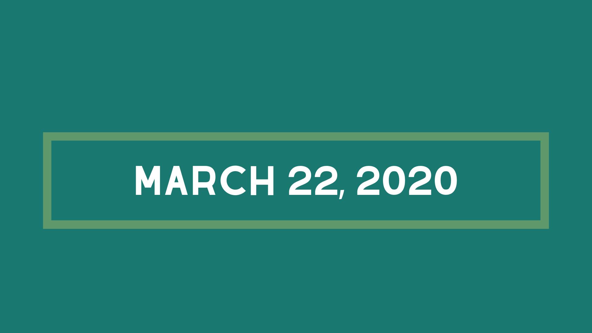 3/22/2020 Sermon